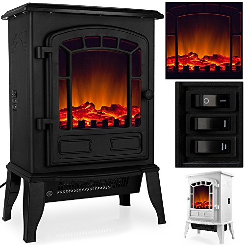 elektro kamin mit heizung und kaminfeuer effekt 2000w schwarz wei flammeneffekt. Black Bedroom Furniture Sets. Home Design Ideas